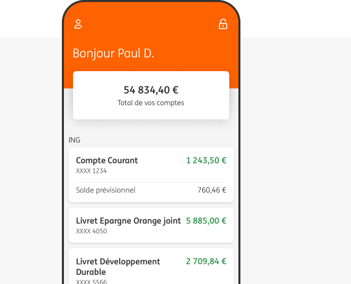 Application ING Direct sur Smartphone